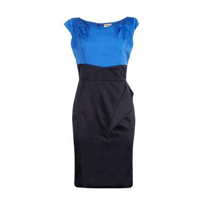 colour block shift dress blue and black